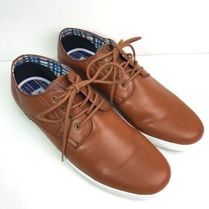 NEW - BEN SHERMAN Brown Leather Sneakers Lace Up 9